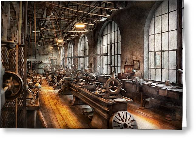 Macho Greeting Cards - Machinist - A room full of Lathes  Greeting Card by Mike Savad