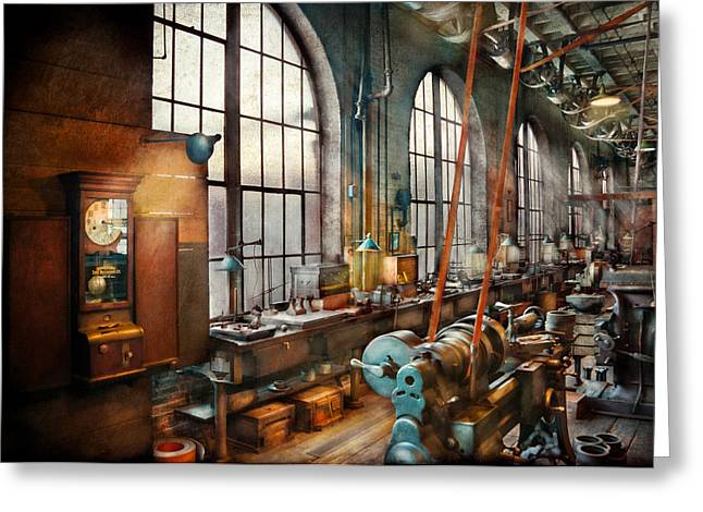 Suburbanscenes Greeting Cards - Machinist - Back in the days of yesterday Greeting Card by Mike Savad