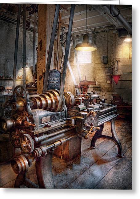 Machinist - Fire Department Lathe Greeting Card by Mike Savad