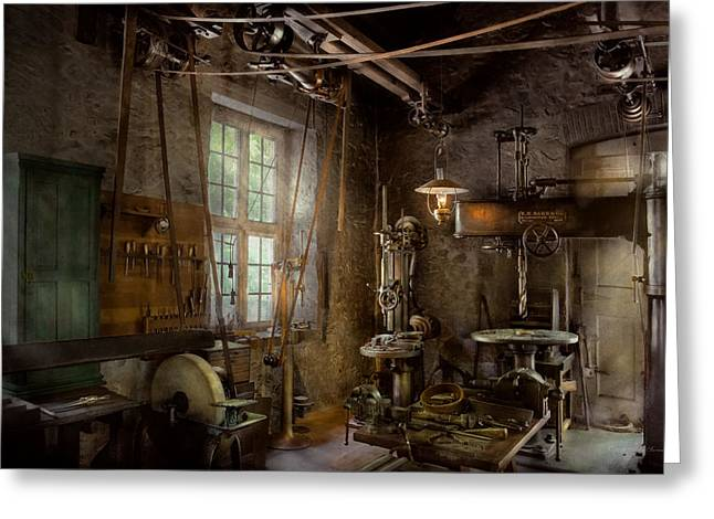 Machinist - Industrial Revolution Greeting Card by Mike Savad