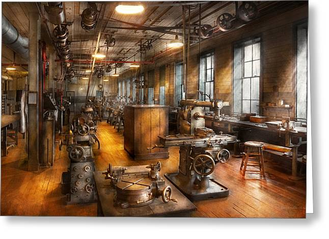 Self Photographs Greeting Cards - Machinist - Industrious Society Greeting Card by Mike Savad