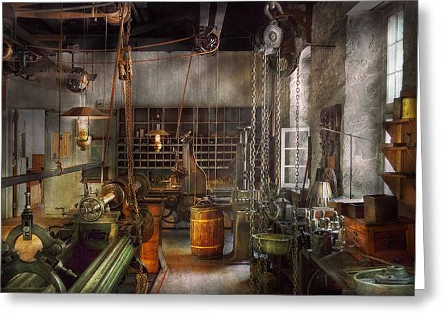 Machinist - Lathes - Machinists Paradise Greeting Card by Mike Savad