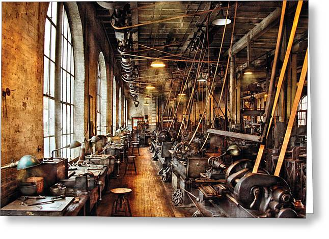 Steam Punk Greeting Cards - Machinist - Machine Shop Circa 1900s Greeting Card by Mike Savad
