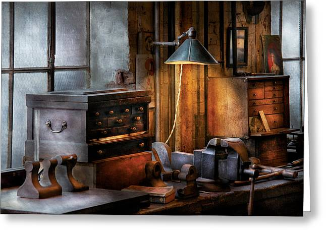 Machinst Greeting Cards - Machinist - My Workstation Greeting Card by Mike Savad