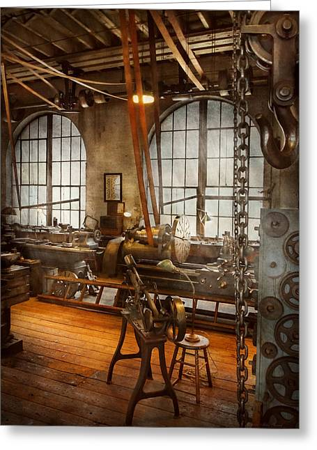 Machinist - The Crowded Workshop Greeting Card by Mike Savad