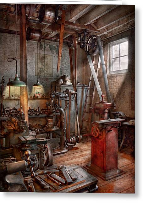 Machinist - The Modern Workshop  Greeting Card by Mike Savad
