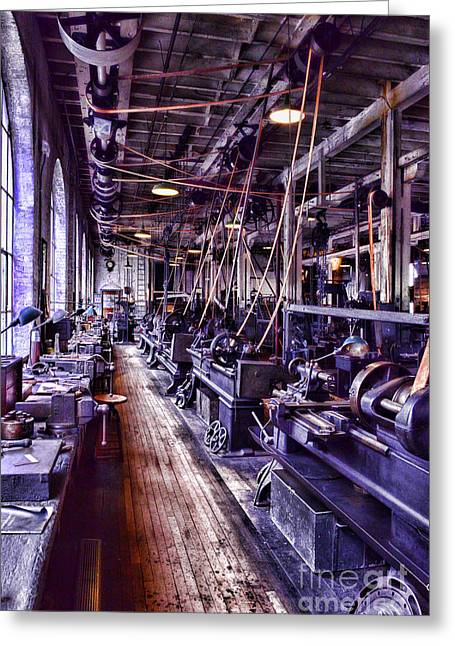 Factory Workers Greeting Cards - Machinist - The Work Shop Greeting Card by Paul Ward