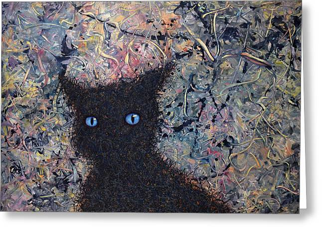 Blue Cat Greeting Cards - Machka Memory Greeting Card by James W Johnson