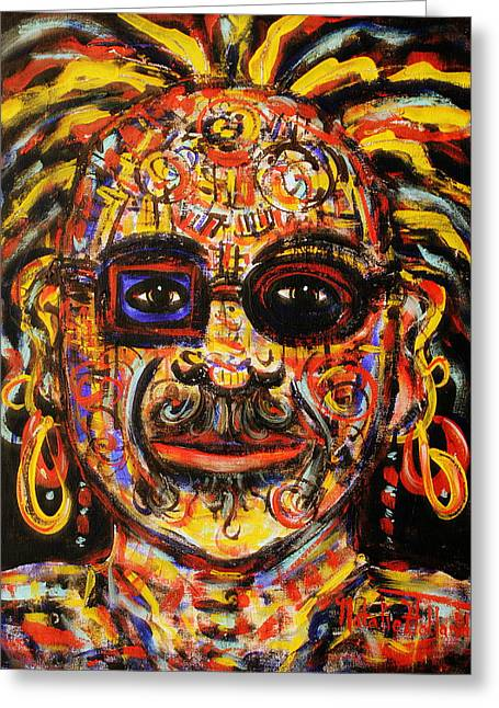 Character Portraits Greeting Cards - Macho Greeting Card by Natalie Holland