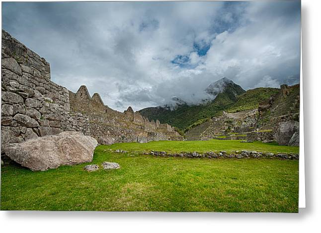 Lost Civilization Greeting Cards - Machu Picchu main square Greeting Card by Ulrich Schade