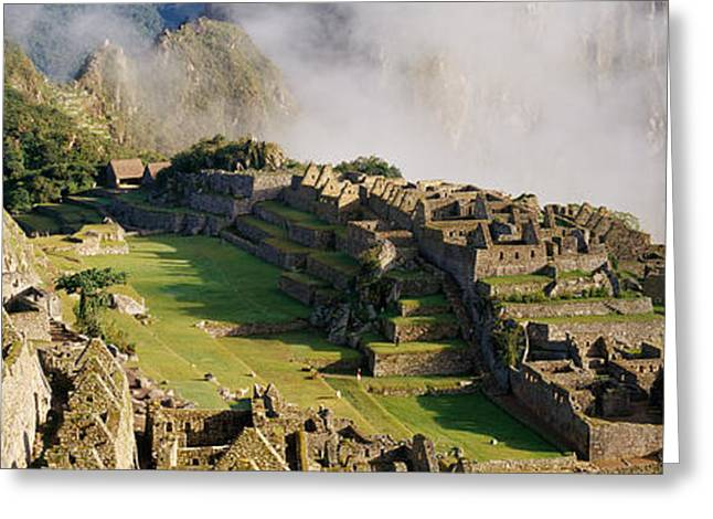 Foggy Day Greeting Cards - Machu Picchu, Peru Greeting Card by Panoramic Images