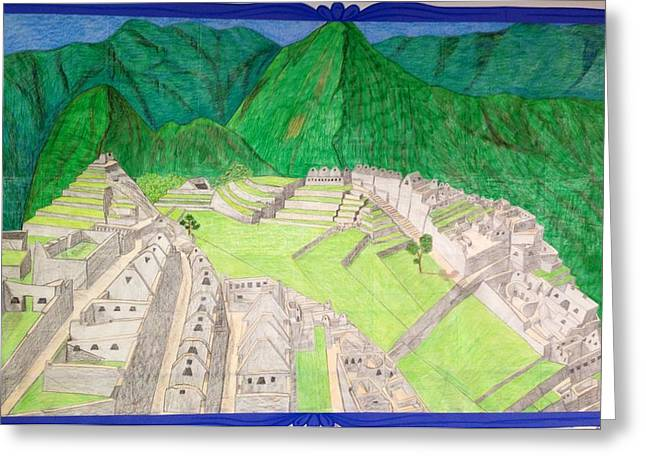 Ancient Ruins Drawings Greeting Cards - Machu Picchu Greeting Card by Yusbel Lopez