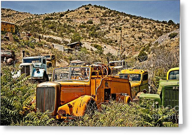 Rusted Cars Greeting Cards - Mack and Reo and the Gang Greeting Card by Lee Craig