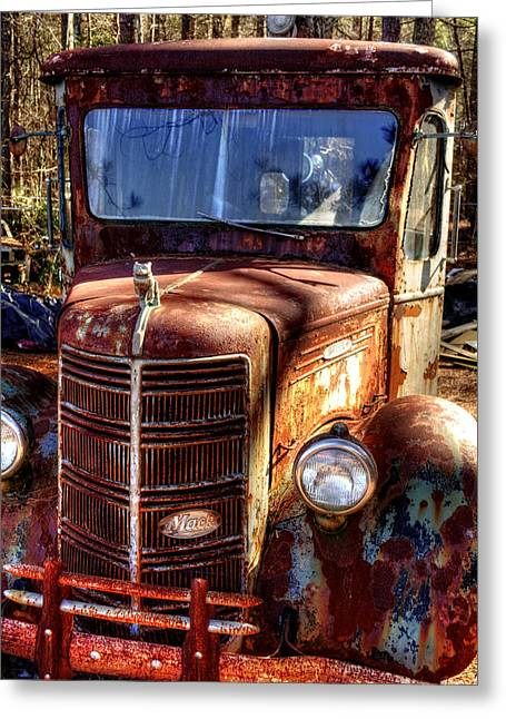 Old Trucks Greeting Cards - Mack Truck Greeting Card by Greg Mimbs