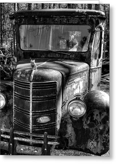 Georgia Bulldog Greeting Cards - Mack Truck in Black and White Greeting Card by Greg and Chrystal Mimbs
