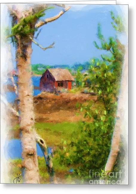 Shed Paintings Greeting Cards - Mackerel Cove Bait Shack and Birch Tree 988 20140912 Greeting Card by Julie Knapp