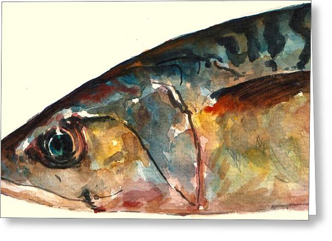 Mackerel Greeting Cards - Mackerel fish Greeting Card by Juan  Bosco