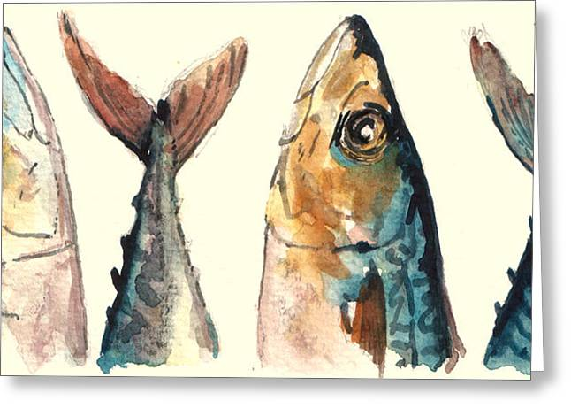 Atlantic Ocean Greeting Cards - Mackerel fishes Greeting Card by Juan  Bosco