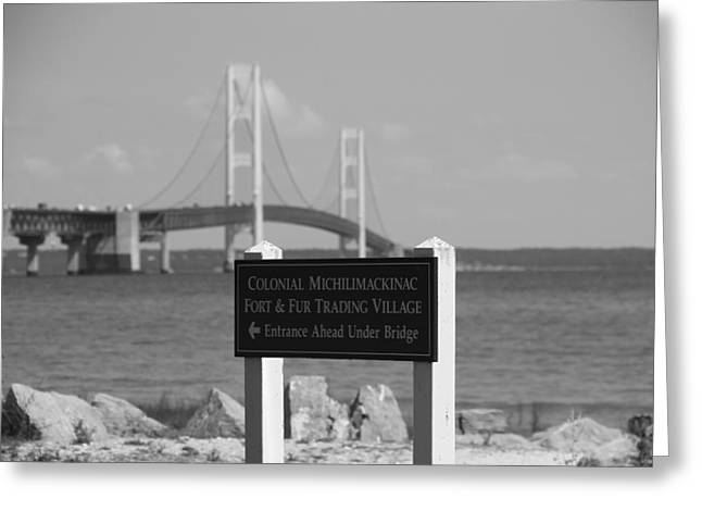 Great Architect Greeting Cards - Mackinac Bridge Black And White Greeting Card by Dan Sproul