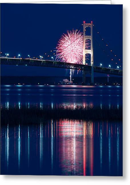 Blue Fireworks Greeting Cards - Mackinac Bridge Fireworks Greeting Card by Steve Gadomski