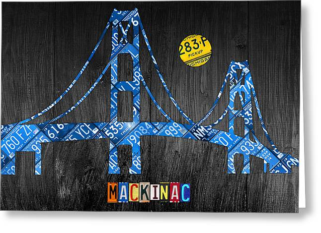 Artwork Mixed Media Greeting Cards - Mackinac Bridge Michigan License Plate Art Greeting Card by Design Turnpike
