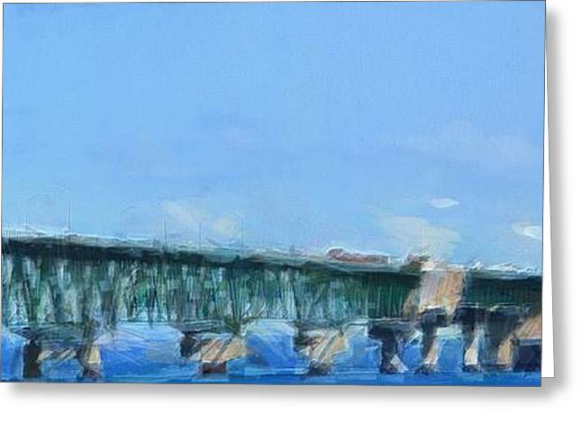 Mackinaw City Greeting Cards - Mackinac Bridge Panorama Painting Greeting Card by Dan Sproul