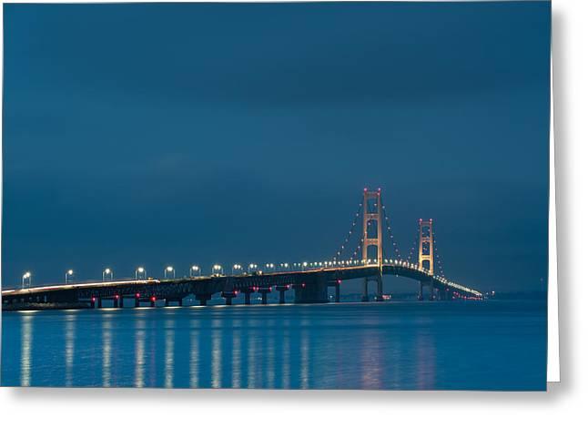 Bridges Greeting Cards - Mackinac Bridge Greeting Card by Sebastian Musial