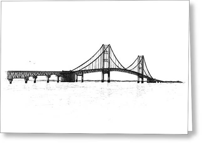 Pen And Ink Drawing Greeting Cards - Mackinac Bridge South Shore Greeting Card by Adam Vereecke
