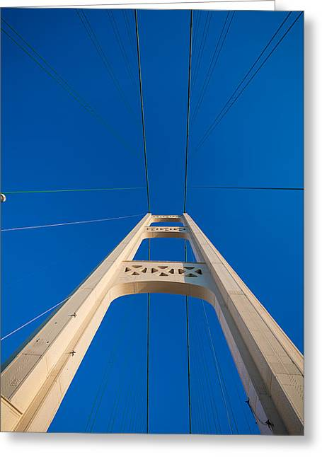 Mighty Greeting Cards - Mackinac Bridge South Tower Greeting Card by Steve Gadomski