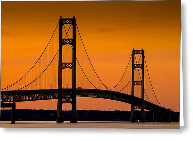 Mighty Greeting Cards - Mackinac Bridge Sunset Greeting Card by Steve Gadomski