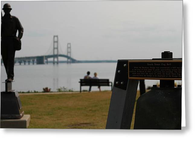 Mackinaw City Greeting Cards - Mackinac Bridge View Greeting Card by Dan Sproul