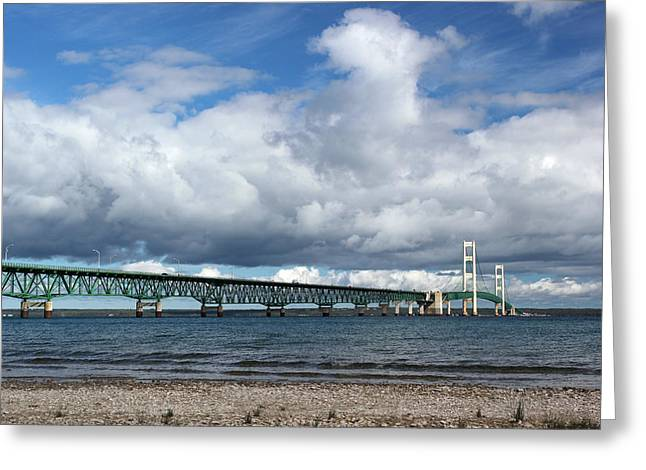 Mackinac Bridge With Clouds 2 Greeting Card by Mary Bedy