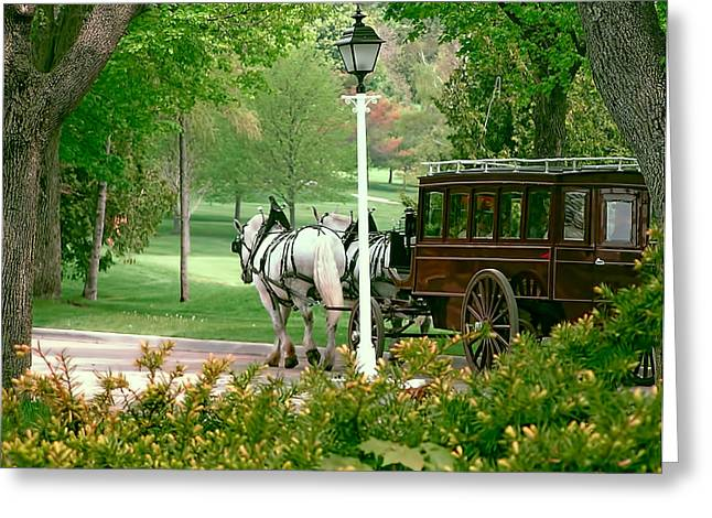 Mackinac Island Arriving In Style Greeting Card by Marti Snider