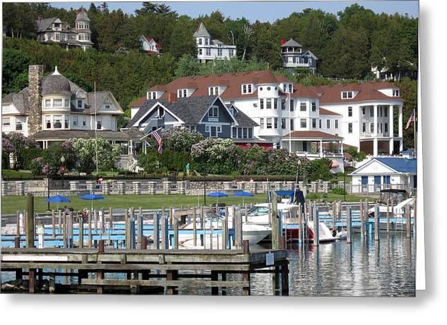 Historic Home Greeting Cards - Mackinac Island Docks Greeting Card by Mary Bedy