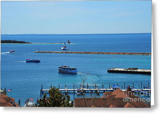 Main Street Greeting Cards - Mackinac Island Harbor View 2 Greeting Card by Terri Gostola