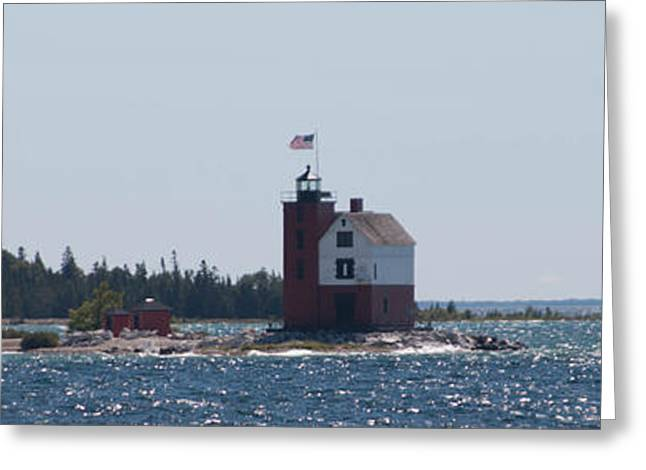 Blue Green Water Greeting Cards - Mackinac Island Lighthouse Greeting Card by Torkomian Photography