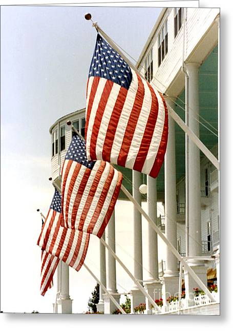 Flag Of The United States Greeting Cards - Mackinac Island Michigan - The Grand Hotel - American Flags Greeting Card by Kathy Fornal