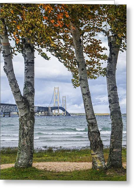 Photos Of Autumn Greeting Cards - Mackinaw Bridge in Autumn by the Straits of Mackinac Greeting Card by Randall Nyhof