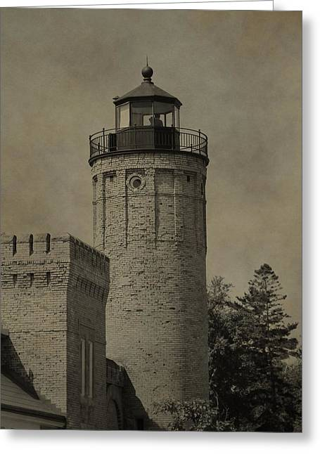 Old Structure Greeting Cards - Mackinaw City Lighthouse Greeting Card by Dan Sproul