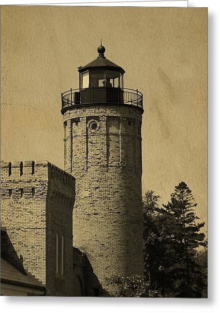 Old Structure Greeting Cards - Mackinaw City Lighthouse Postcard Greeting Card by Dan Sproul