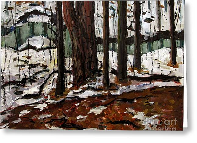 Acylic Painting Greeting Cards - Maconaquah Winter Meander Greeting Card by Charlie Spear