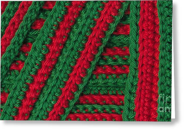 Striped Tapestries - Textiles Greeting Cards - Macro crochet stripes Greeting Card by Kerstin Ivarsson