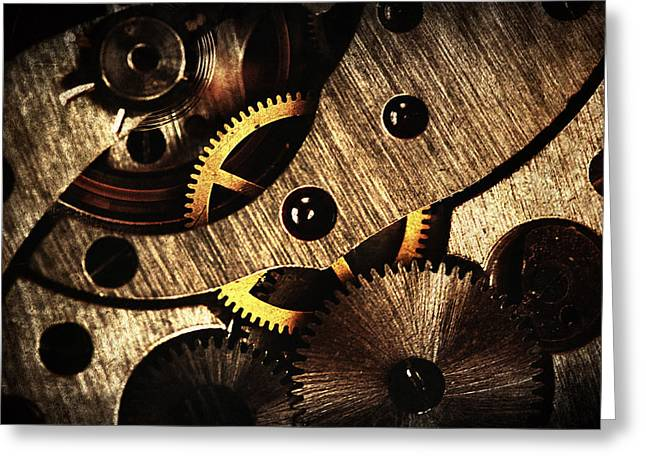 Gear Pyrography Greeting Cards - Macro Mechanic Greeting Card by Svetoslav Sokolov