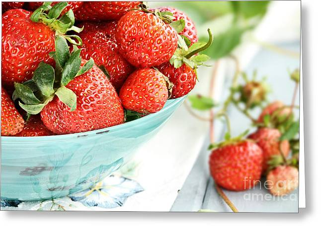 Wooden Bowl Greeting Cards - Macro of Fresh Strawberries  Greeting Card by Stephanie Frey