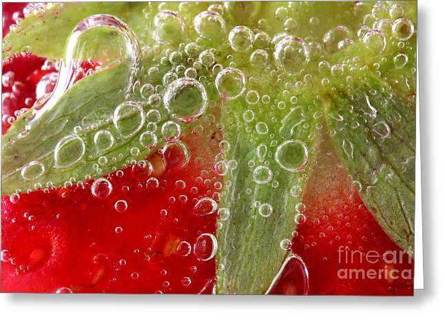Macro Of Strawberry In Water Greeting Card by Simon Bratt Photography LRPS