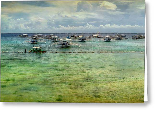 Fishing Boats Greeting Cards - Mactan Island Bay Greeting Card by Adrian Evans