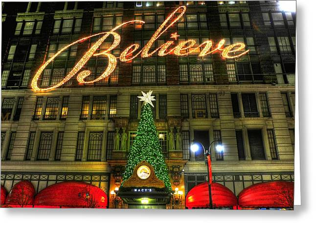 Department Stores Greeting Cards - Macys 2010 Christmas Slogan Greeting Card by Randy Aveille
