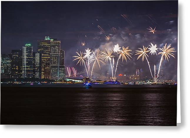 4th July Greeting Cards - Macys 4th of July Fireworks  Greeting Card by Eduard Moldoveanu