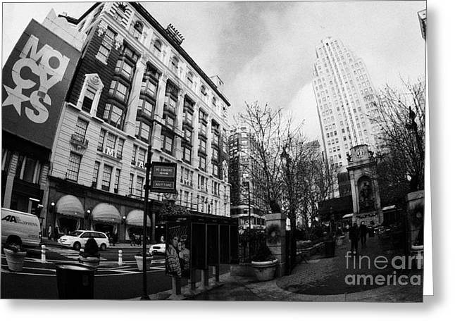Macys at Broadway and 34th Street Herald Square new york city Greeting Card by Joe Fox