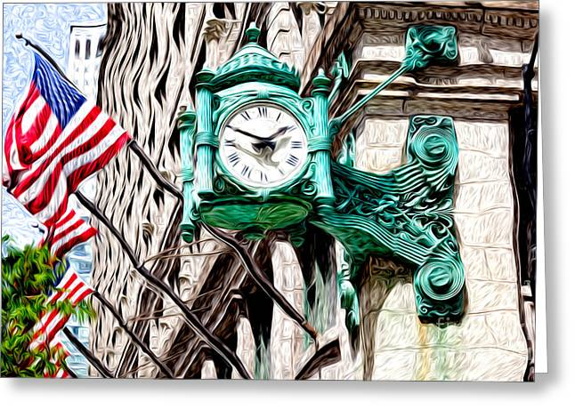 Macy Greeting Cards - Macys Clock in Chicago Greeting Card by Paul Velgos